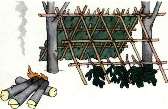 Постройка укрытия в зимнем лесу